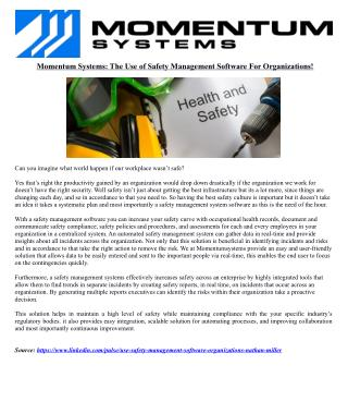 Momentum Systems: The Use of Safety Management Software For Organizations!