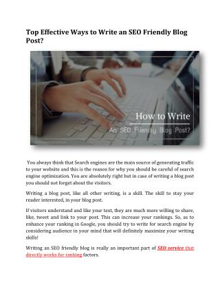 Top Effective Ways to Write an SEO Friendly Blog Post?