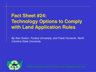 Fact Sheet #24: Technology Options to Comply with Land Application Rules