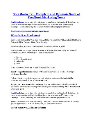 Soci Marketer REVIEW & Soci Marketer (SECRET) Bonuses