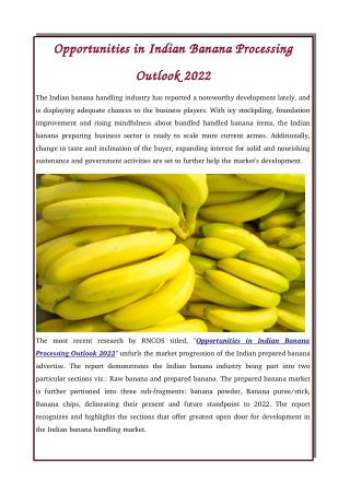 Opportunities in Indian Banana Processing Outlook 2022