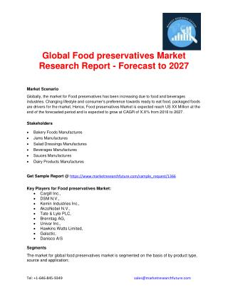 Food preservatives Market Research, market Share, Competitor Strategy, Industry Trends, Forecast to 2027.