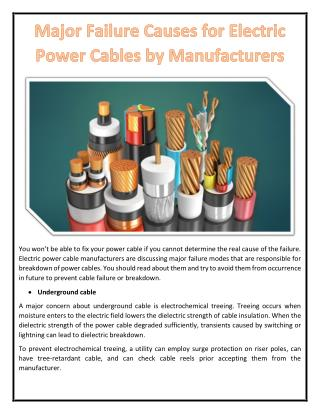 Major Failure Causes for Electric Power Cables by Manufacturers