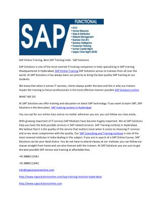 SAP Online Training, Best SAP Training India - SAP Solutions