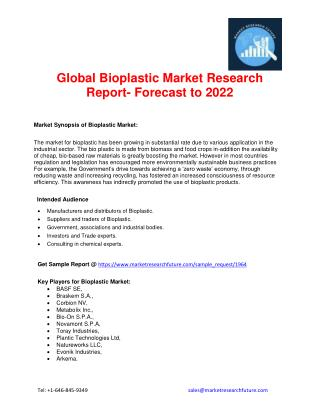Global Bioplastic Market is expected to reach $5.99 billion by 2022