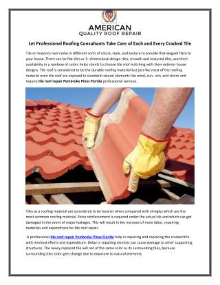 Let Professional Roofing Consultants Take Care of Each and Every Cracked Tile