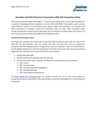 Smoother And Safe Electronic Transactions With Edi Transaction Codes