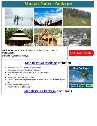 Manali Volvo Package