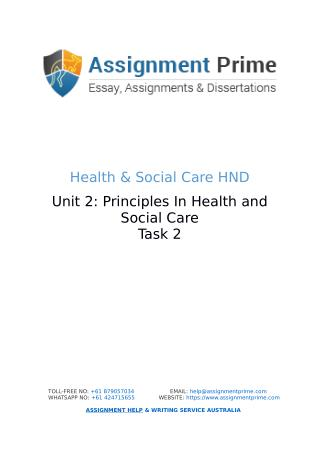 Assignment Prime - Sample Assignment on Health & Social Care (Task 2)