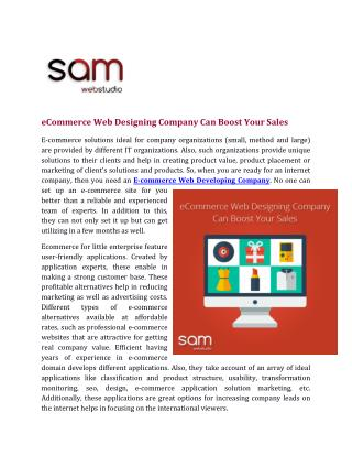 eCommerce Web Designing Company Can Boost Your Sales