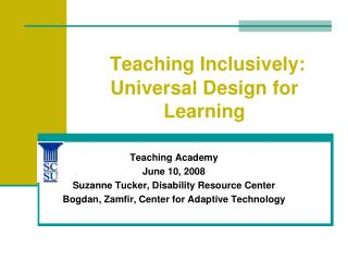 Teaching Inclusively: Universal Design for Learning