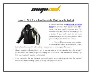 How to Opt for a Fashionable Motorcycle Jacket