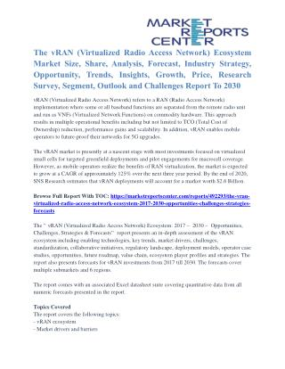 The vRAN (Virtualized Radio Access Network) Ecosystem Industry Outlook And Growth Forecast To 2030