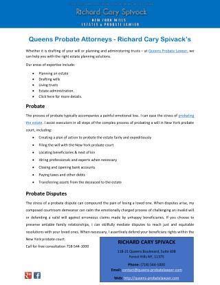 Queens Probate Attorneys - Richard Cary Spivack's