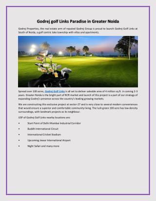 Godrej golf links paradise in greater noida