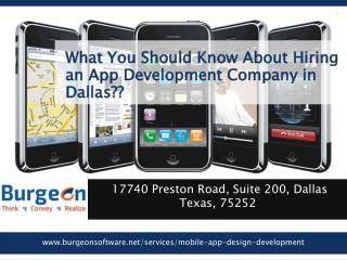 What do you need to know before hiring App development company in Dallas??