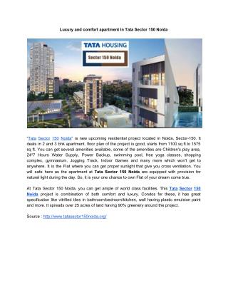 Luxury and comfort apartment in Tata Sector 150 Noida