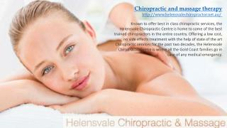 Chiropractic and massage therapy in Helensvale