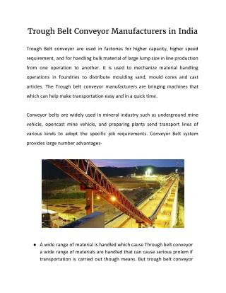 Trough Belt Conveyor Manufacturers in India
