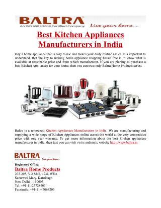Best Kitchen Appliances Manufacturers in India