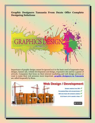 Graphic Designers Tanzania From Duxte Offer Complete Designing Solutions