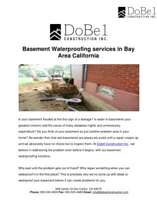 Basement Waterproofing services in Bay Area California