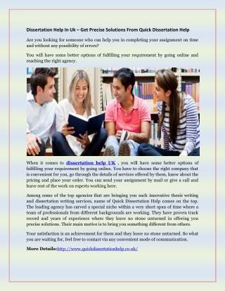 Dissertation Help In Uk – Get Precise Solutions From Quick Dissertation Help