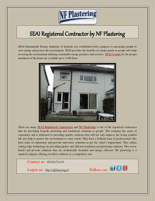 SEAI Registered Contractor by NF Plastering