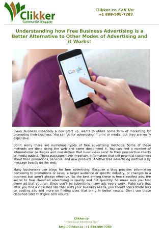 Understanding how Free Business Advertising is a Better Alternative to Other Modes of Advertising and it Works!