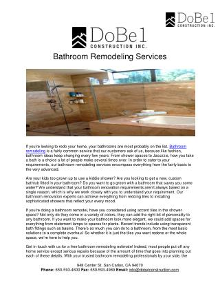 Bathroom Remodeling Services - Dobel Construction