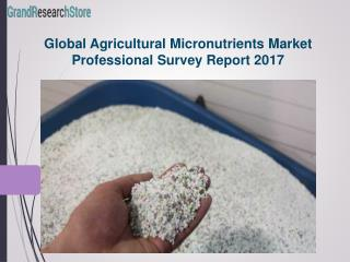 Global Agricultural Micronutrients Market Professional Survey Report 2017