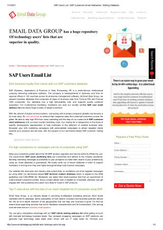 SAP Clients Mailing Address List