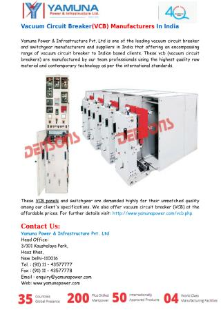 Vacuum Circuit Breaker(VCB) Manufacturers In India