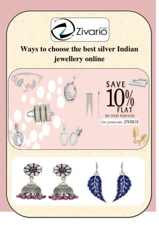 Ways tochoose the best silver Indian jewellery online