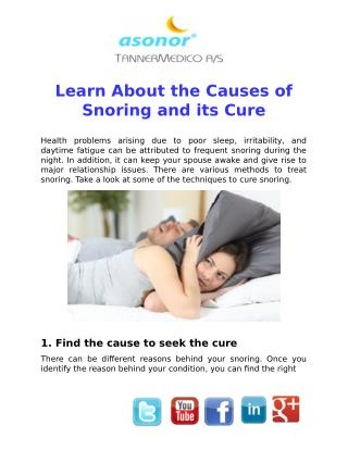 Learn About the Causes of Snoring and its Cure