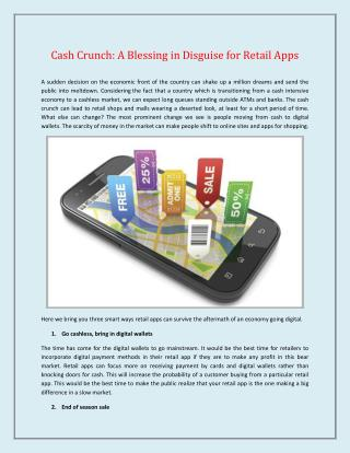 Cash crunch: A Blessing in Disguise for Retail Apps