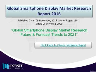 Global Smartphone Display Market Research Report 2016