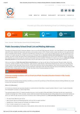 Public Secondary Schools contact lists