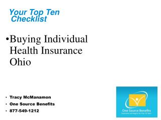 Buying Ohio Individual Health Insurance