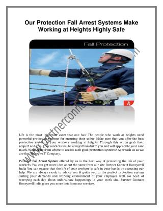 Our Protection Fall Arrest Systems Make Working at Heights Highly Safe