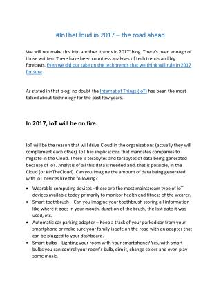 #InTheCloud in 2017 – the road ahead