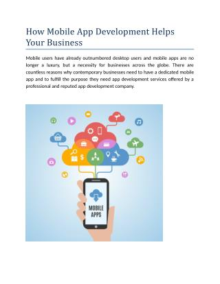How Mobile App Development Helps Your Business