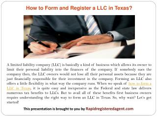 How to Form and Register a LLC in Texas?