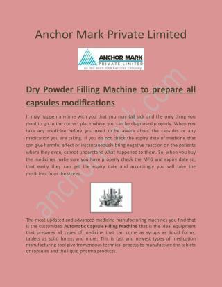 Rapid Mixer Granulator, Semi Automatic Capsule Filling Machine Anchormark