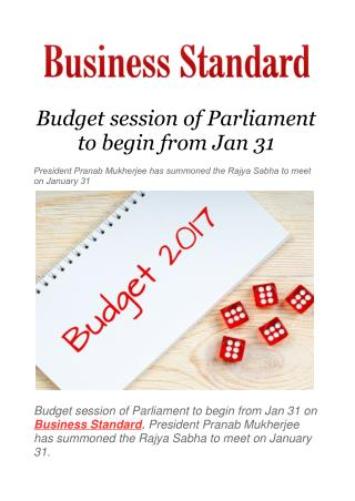 Budget session of Parliament to begin from Jan 31