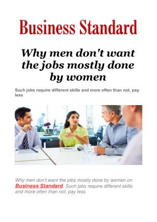 Why men don't want the jobs mostly done by women