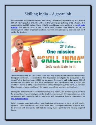 Skilling india � a great job