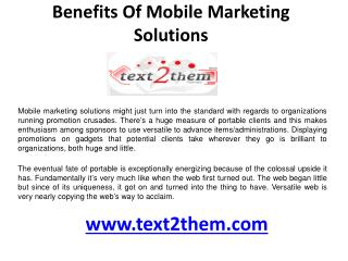 Benefits of Mobile marketing solutions