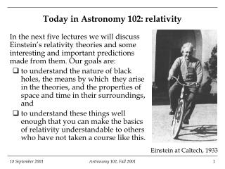 Today in Astronomy 102: relativity