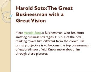 Harold Soto: The Great Businessman with a Great Vision